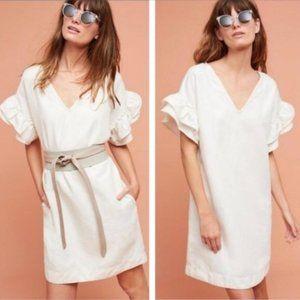 Anthropologie Maeve Ruffle Shoulder Dress